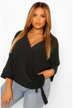Plus Wrap Drape Tie Side Blouse, Black negro