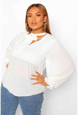 Ivory white Plus Pleated Sleeve Pussybow Blouse