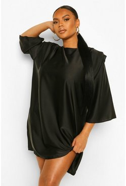 Black Plus Satin Shoulderpad 3/4 Sleeve Shift Dress