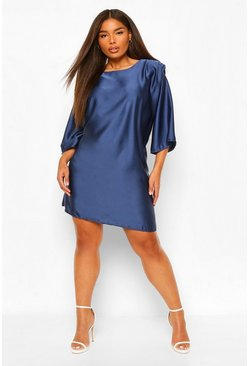 Midnight Plus Satin Shoulderpad 3/4 Sleeve Shift Dress