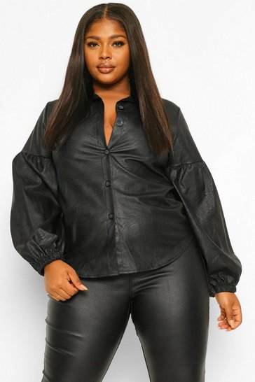 Black Plus Leather Look Puff Sleeve Shirt