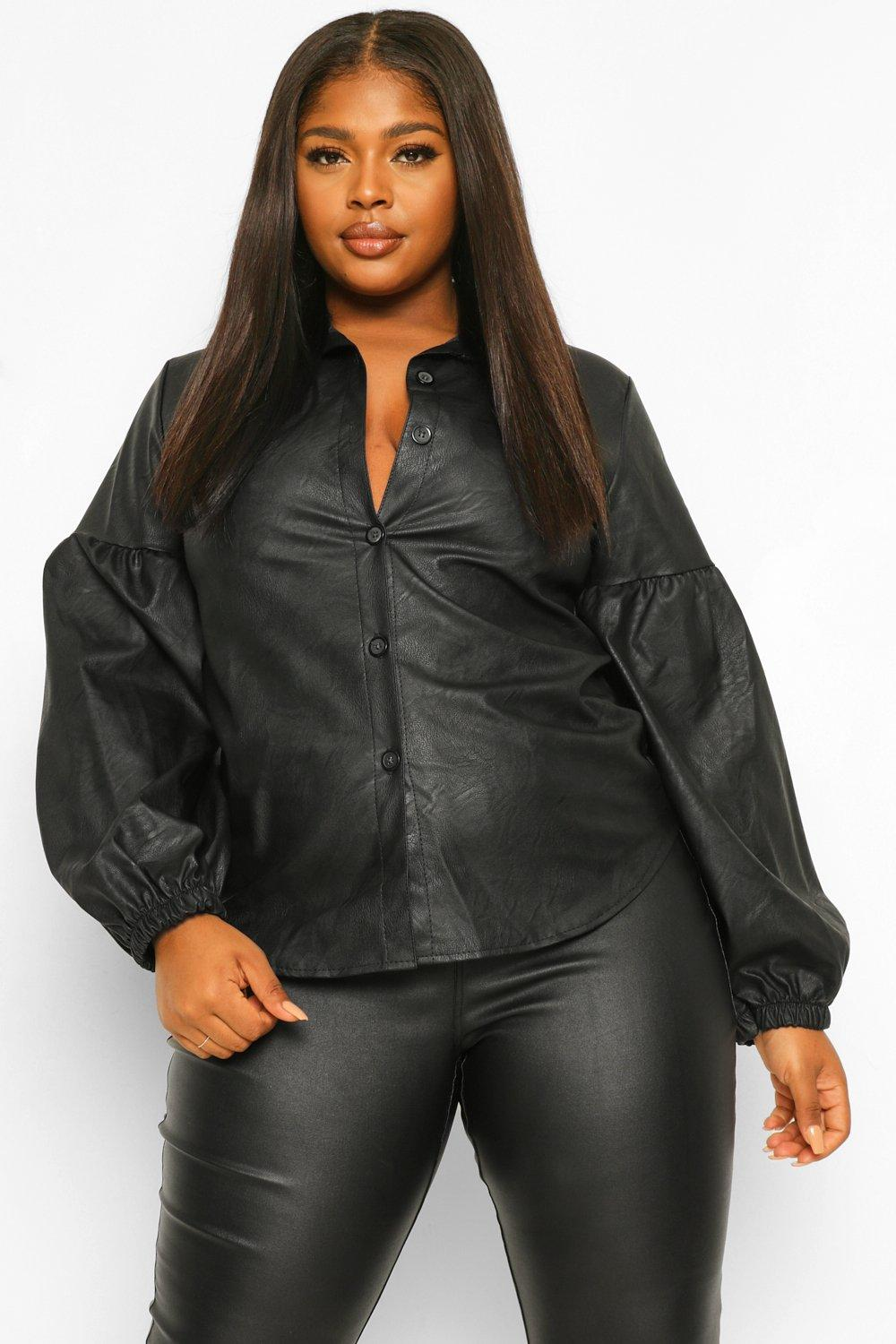 Plus Leather Look Puff Sleeve Shirt 14