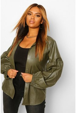 Khaki Plus Leather Look Puff Sleeve Shirt