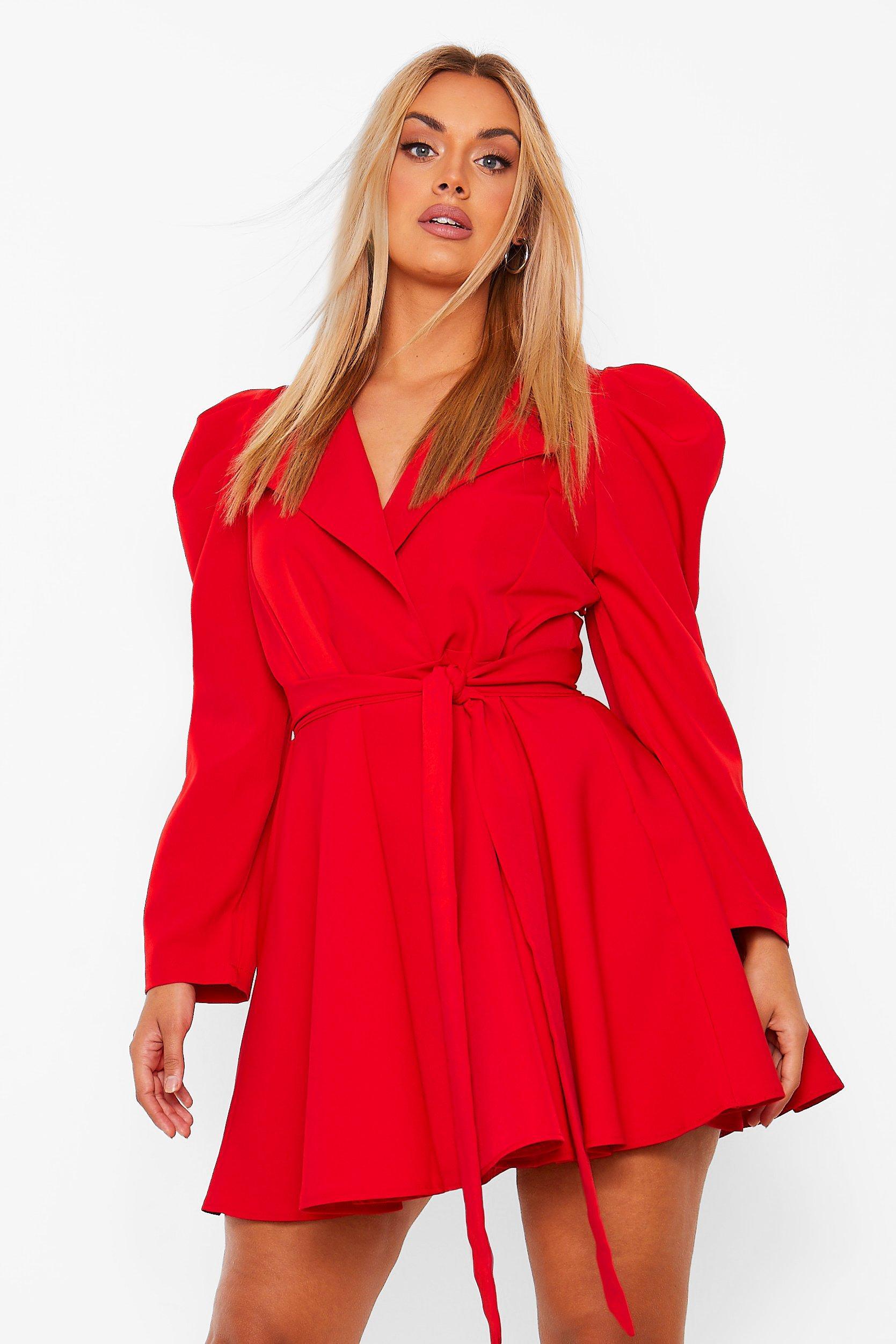 Plus Puff Sleeve Belted Wrap Blazer Dress 8