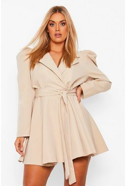 Plus Puff Sleeve Belted Wrap Blazer Dress, Stone beige