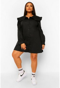 Black Plus Peter Pan Collar Shirt Dress