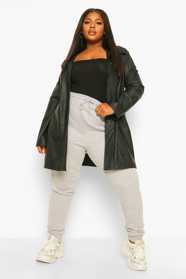 Black Plus Leather Look Shacket