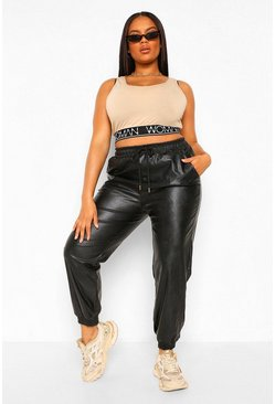 Black Plus Leather Look Joggers