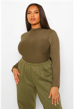 Khaki Plus Supersoft Funnel Neck Longsleeve T-shirt