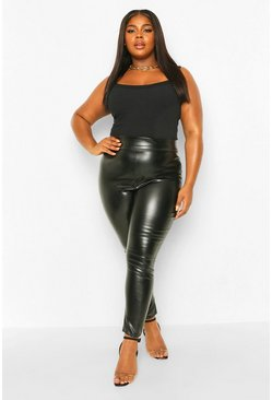 Black Plus High Waisted Pu Leggings
