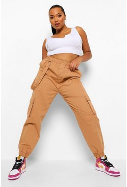 Tan brown Plus Utility Pocket Denim Jogger
