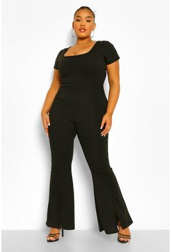 Black Plus Square Neck Split Front Jumpsuit