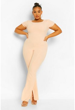 Blush pink Plus Square Neck Split Front Jumpsuit