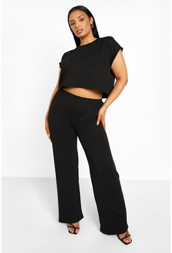 Black Plus Shoulder Pad Pants Two-Piece