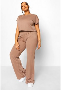 Mocha beige Plus Shoulder Pad Trouser Co-ord