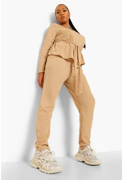 Stone beige Plus Top Met Laag Decolleté En Ceintuur En Broek Set