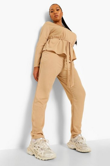 Stone beige Plus Plunge Tie Waist Top And Trouser Co-ord