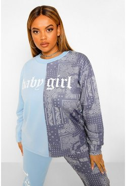 Plus Bandana Print Colour Block Sweat, Blue blau