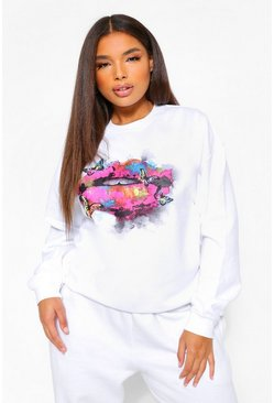 Plus Rainbow And Butterfly Lip Sweatshirt , White blanc
