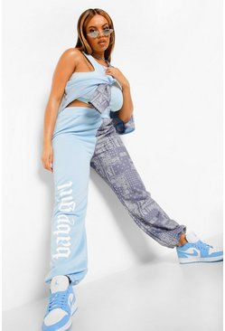 Blue Plus Colour Block Joggingbroek Met Bandanaprint