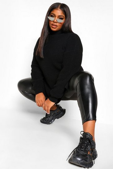Black Plus Roll Neck Side Split Jumper