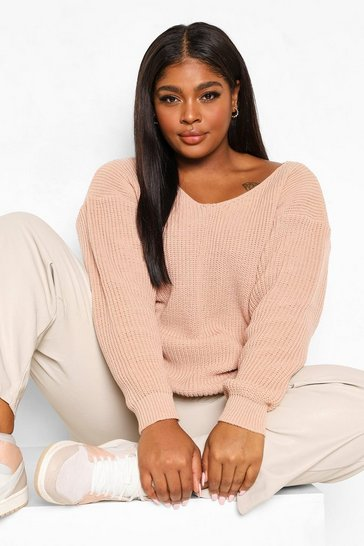 Blush pink Plus Oversized V Neck Jumper
