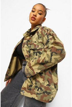 Khaki Plus Camo Oversized Denim Jacket