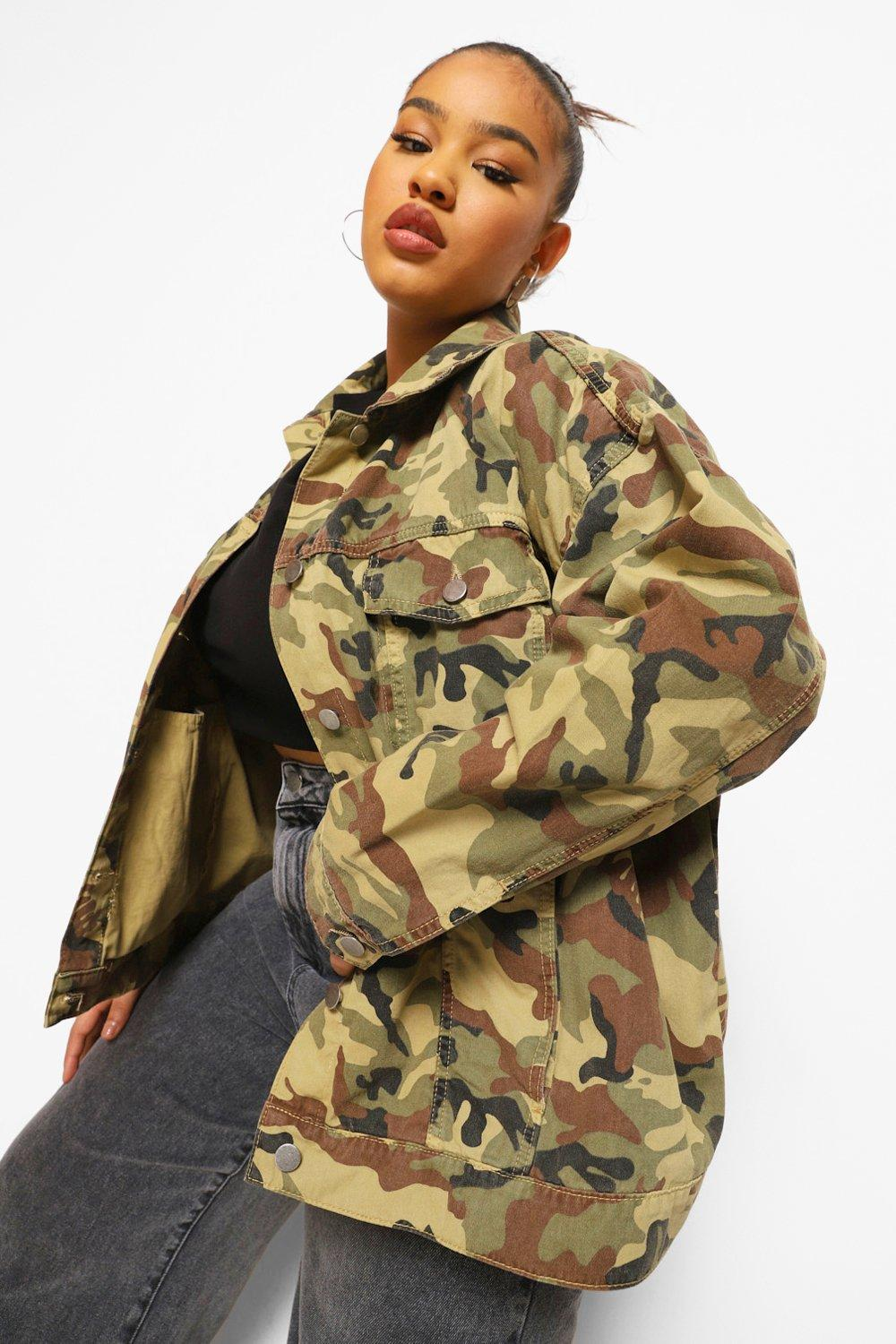 Plus Camo Oversized Denim Jacket 24