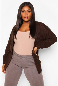 Chocolate brown Plus Edge To Edge Waffle Knit Cardigan