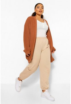 Toffee beige Plus Edge To Edge Cardigan