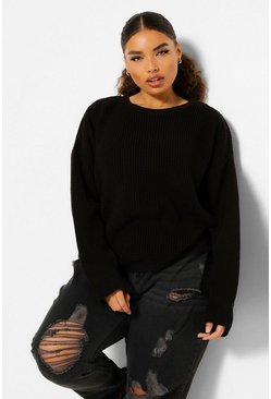 Black Plus Cuff Detail Fisherman Jumper