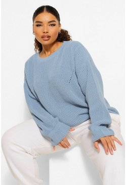 Slate blue blue Plus Cuff Detail Fisherman Sweater