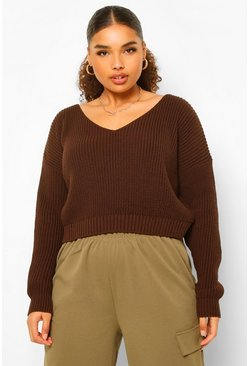 Chocolate brown Plus V Neck Fisherman Crop Jumper