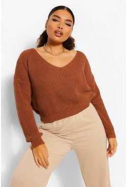Toffee Plus V Neck Fisherman Crop Jumper