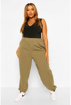 Khaki Plus Basic Cuffed Cargo Trouser
