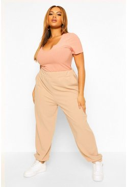 Stone beige Plus Basic Cuffed Cargo Trouser