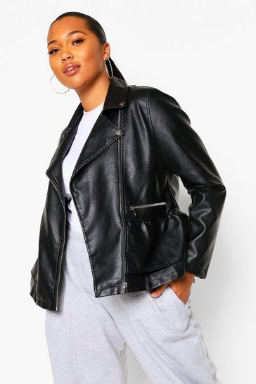 Black Plus Pu Peplum Biker Jacket
