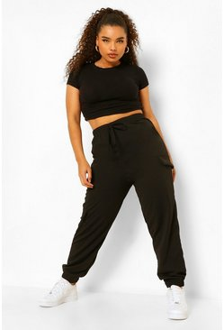 Black Plus Multi Pocket Cuffed Cargo Trouser