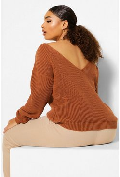 Toffee Plus V Back Oversized Jumper