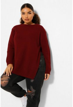 Berry Plus Side Split Moss Stitch Jumper