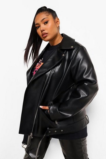 Black Plus Leather Look Oversized Longline Biker Jacket