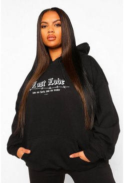Black Plus Lost Love Barbed Wire Boyfriend Hoody