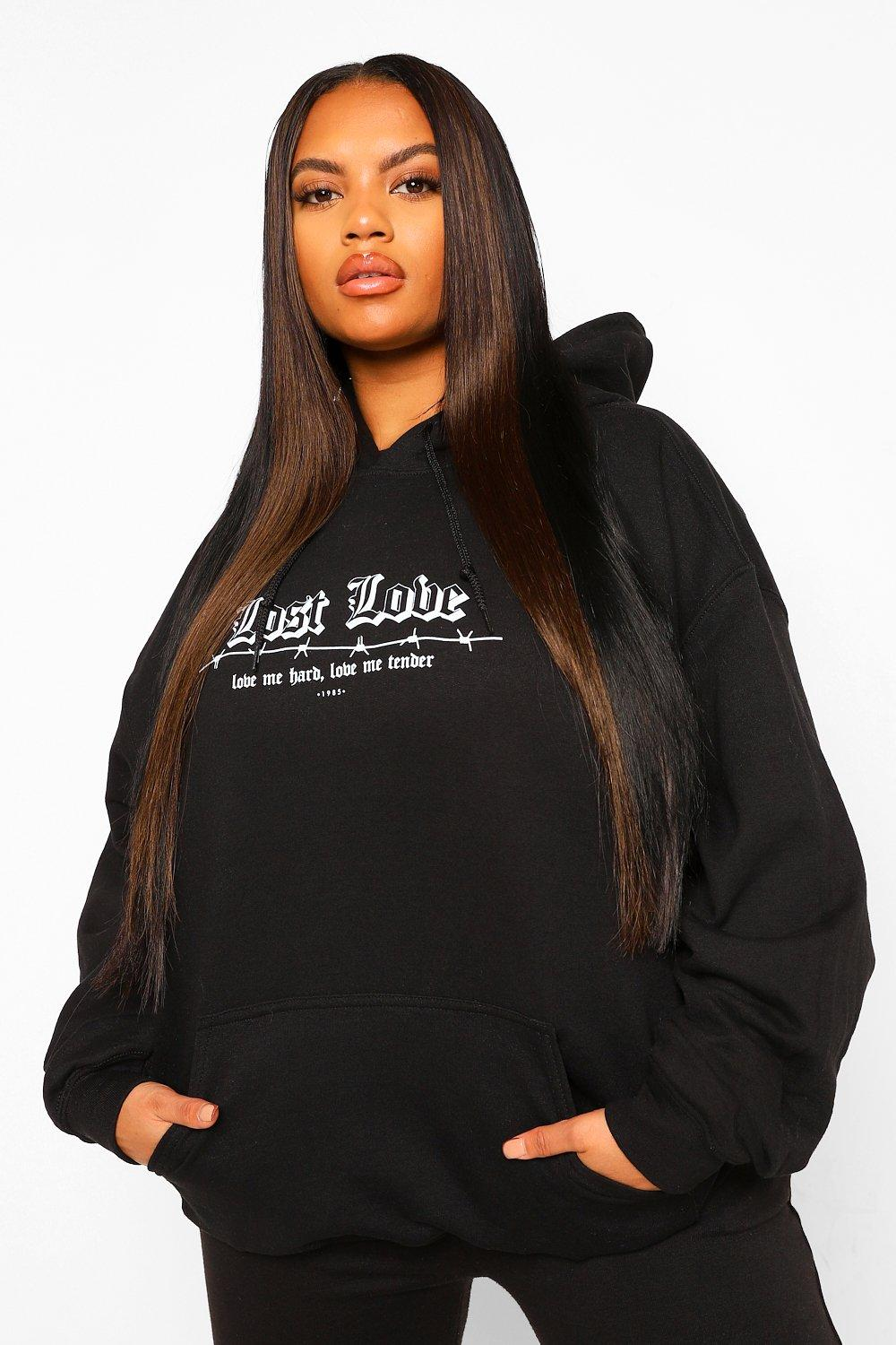 Plus Lost Love Barbed Wire Boyfriend Hoody 19