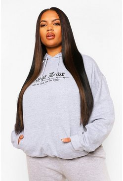 Grey marl grey Plus Lost Love Barbed Wire Boyfriend Hoody