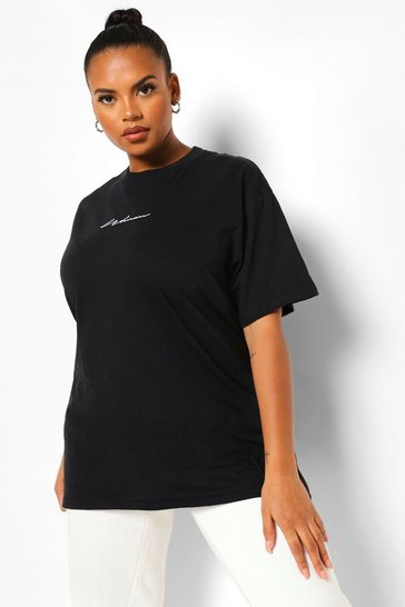 Black Plus Woman Embroidered Boyfriend T-shirt