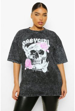 Grey Plus Skull Baby Girl Acid Wash Boyfriend T-shirt