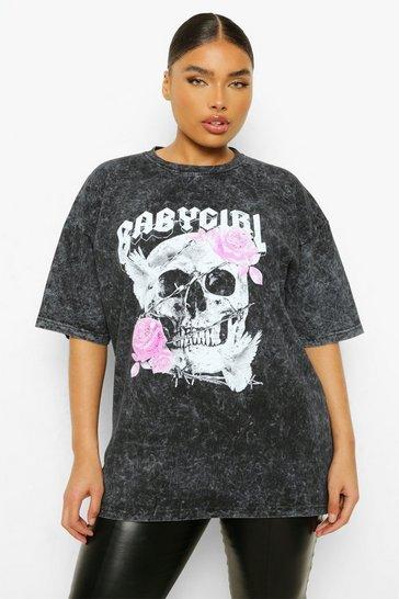 Grey Plus Skull Baby Girl Acid Wash Boyfriend T-shirt