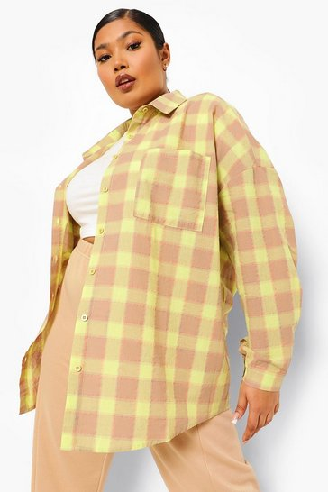 Lime green Green Plus Lost Love Back Print Check Boyfriend Shirt