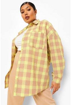 Lime green Plus Lost Love Back Print Flannel Boyfriend Shirt