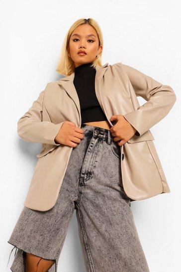 Stone beige Petite Faux Leather Pu Blazer